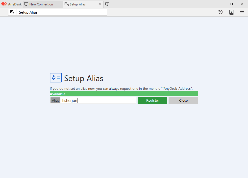 AnyDesk alias setting