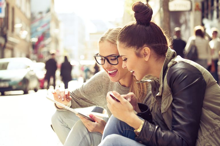 Two girls on tablet