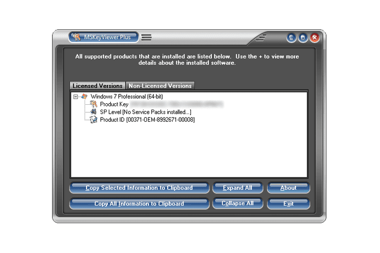 Screenshot of MSKeyViewer Plus v2.5.0 in Windows 7