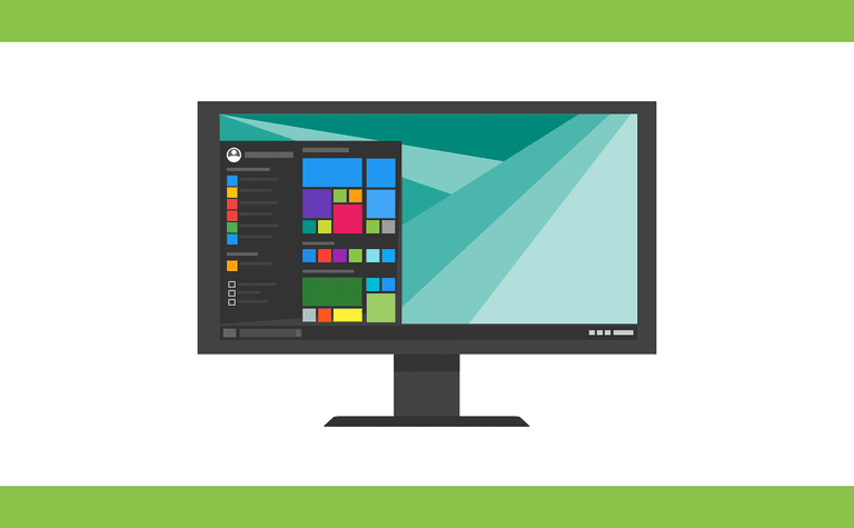 Illustration of a PC monitor with a stylized application launcher onscreen