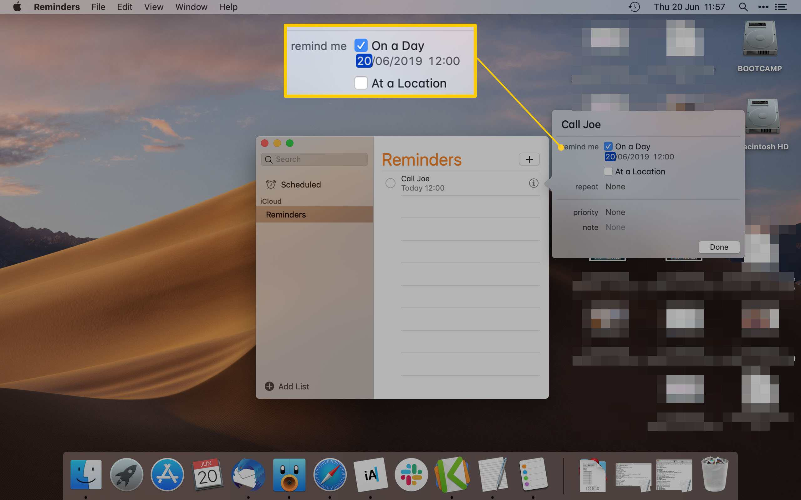 Mac Reminder App Highlighting the Remind On a Day options