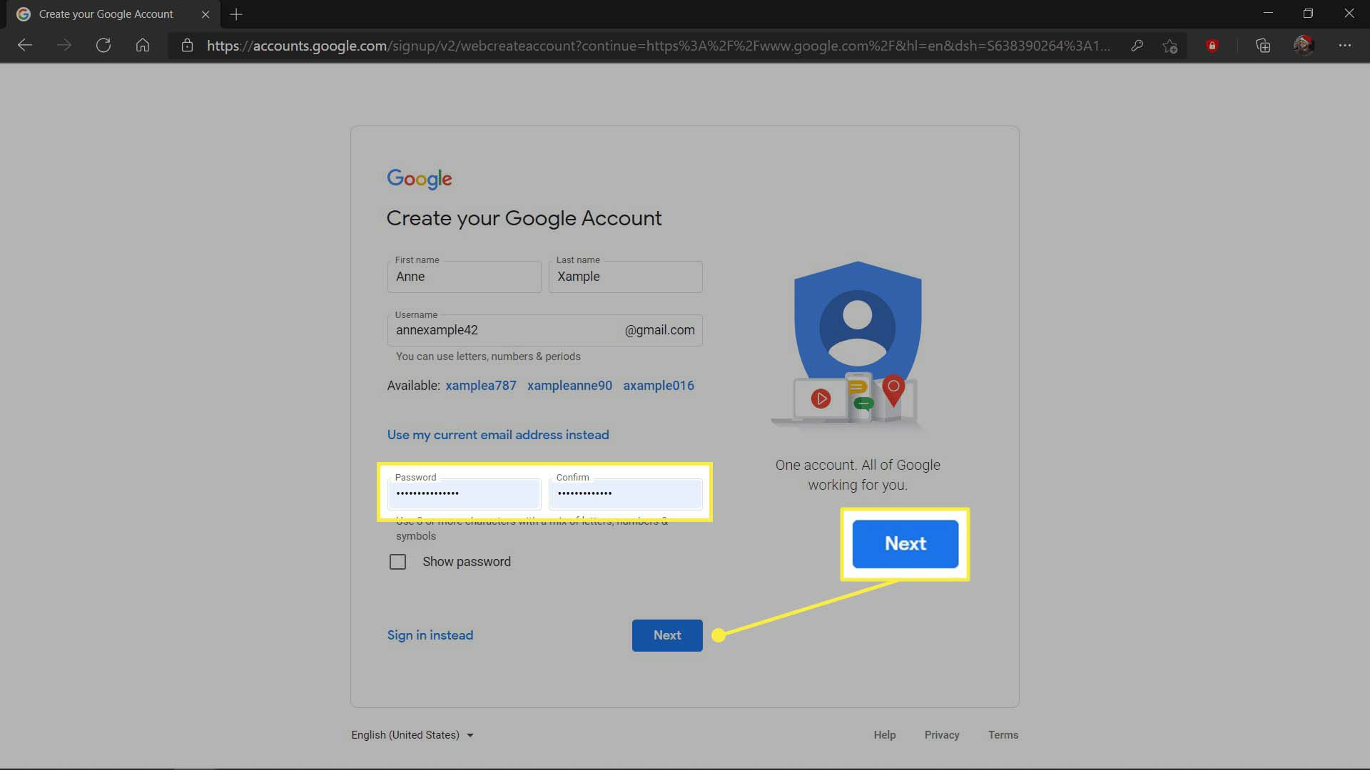 Creating an account with a strong password in MS Edge.