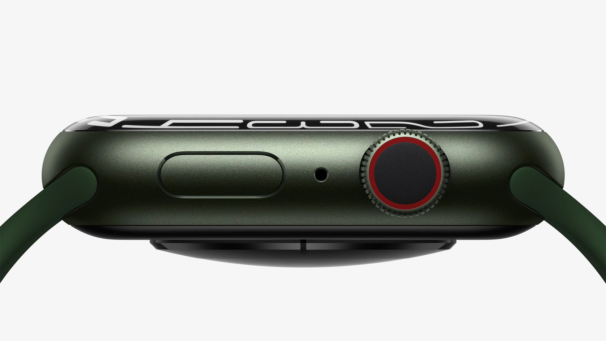 Sideview of the Green Apple Watch 7