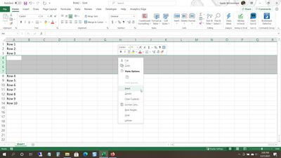 Insert multiple rows in Excel on Windows