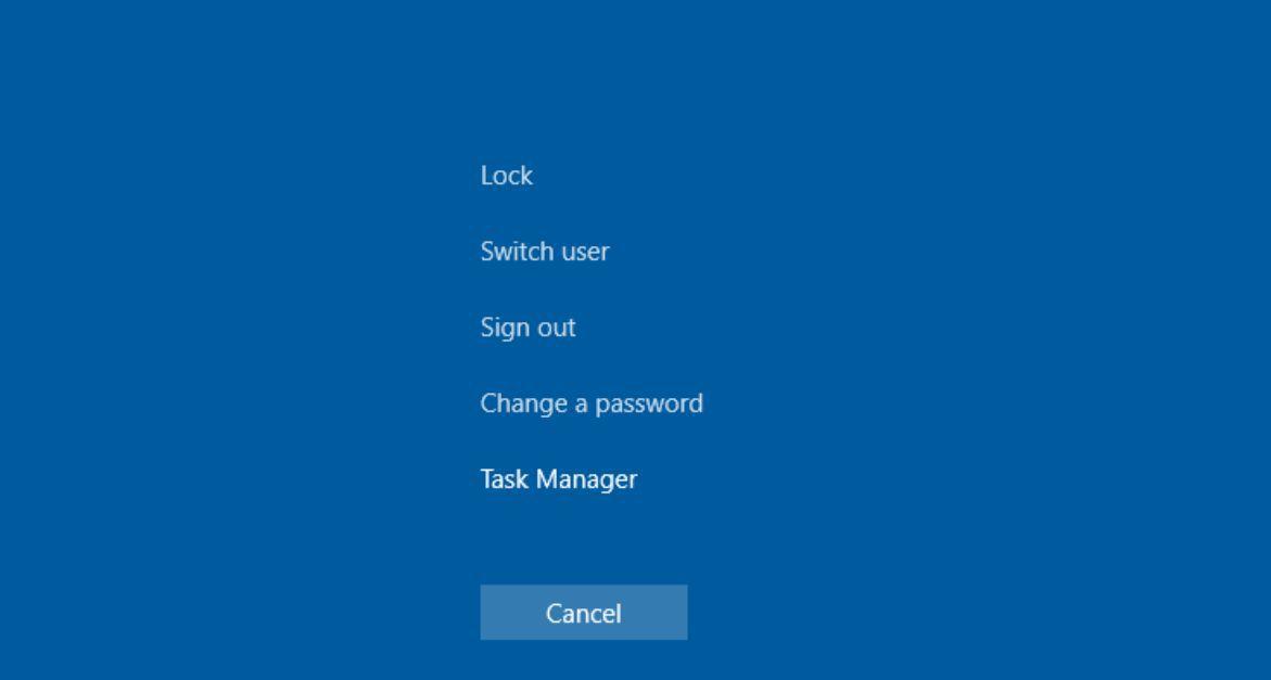 Screenshot cntrl-alt-del switch user