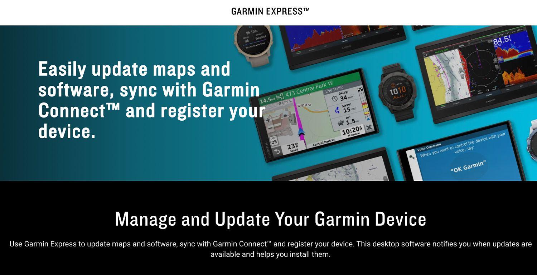 Garmin Express download screen