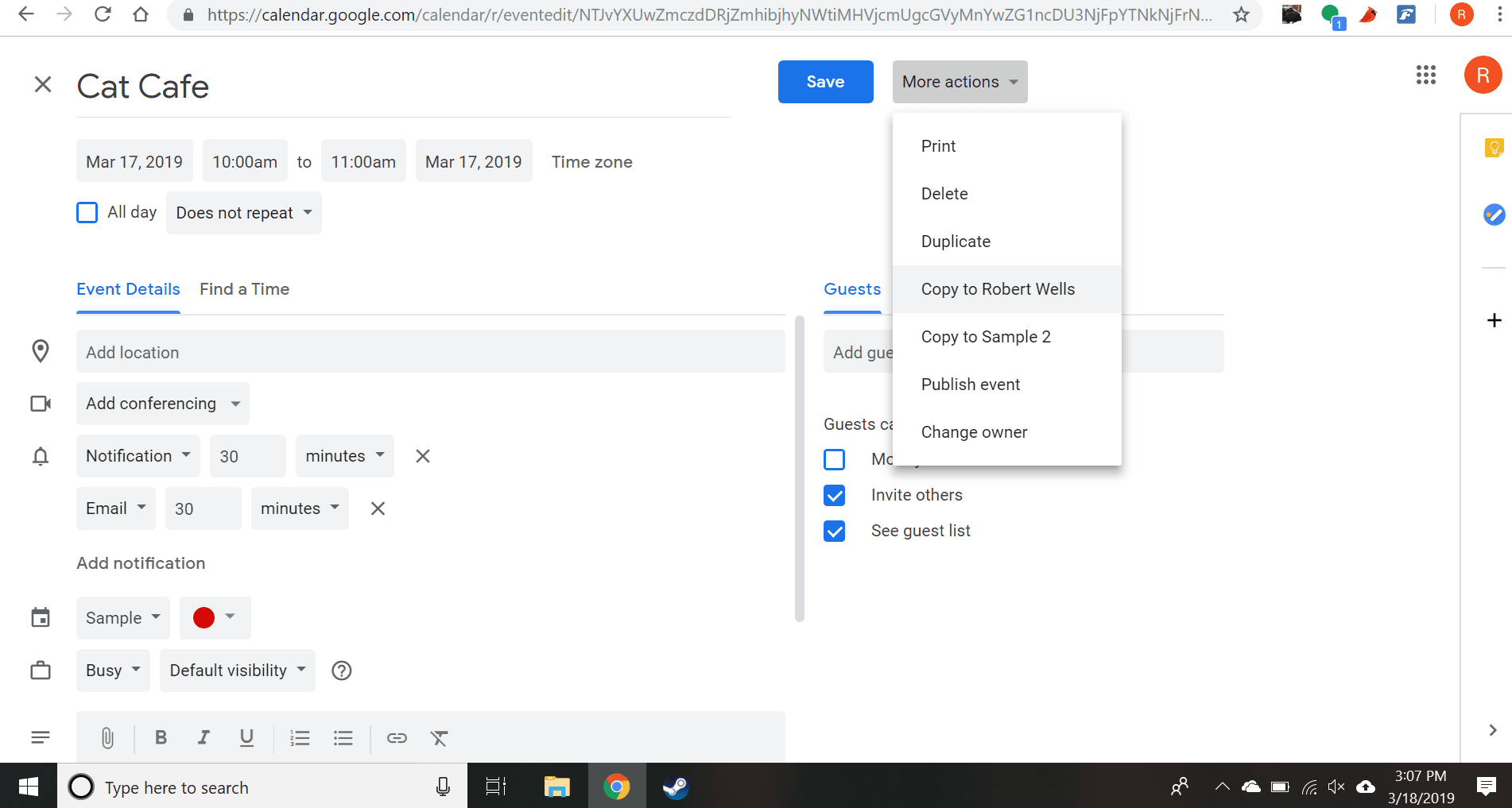 Select More Actions, then choose Duplicate or Copy to from the drop-down menu.