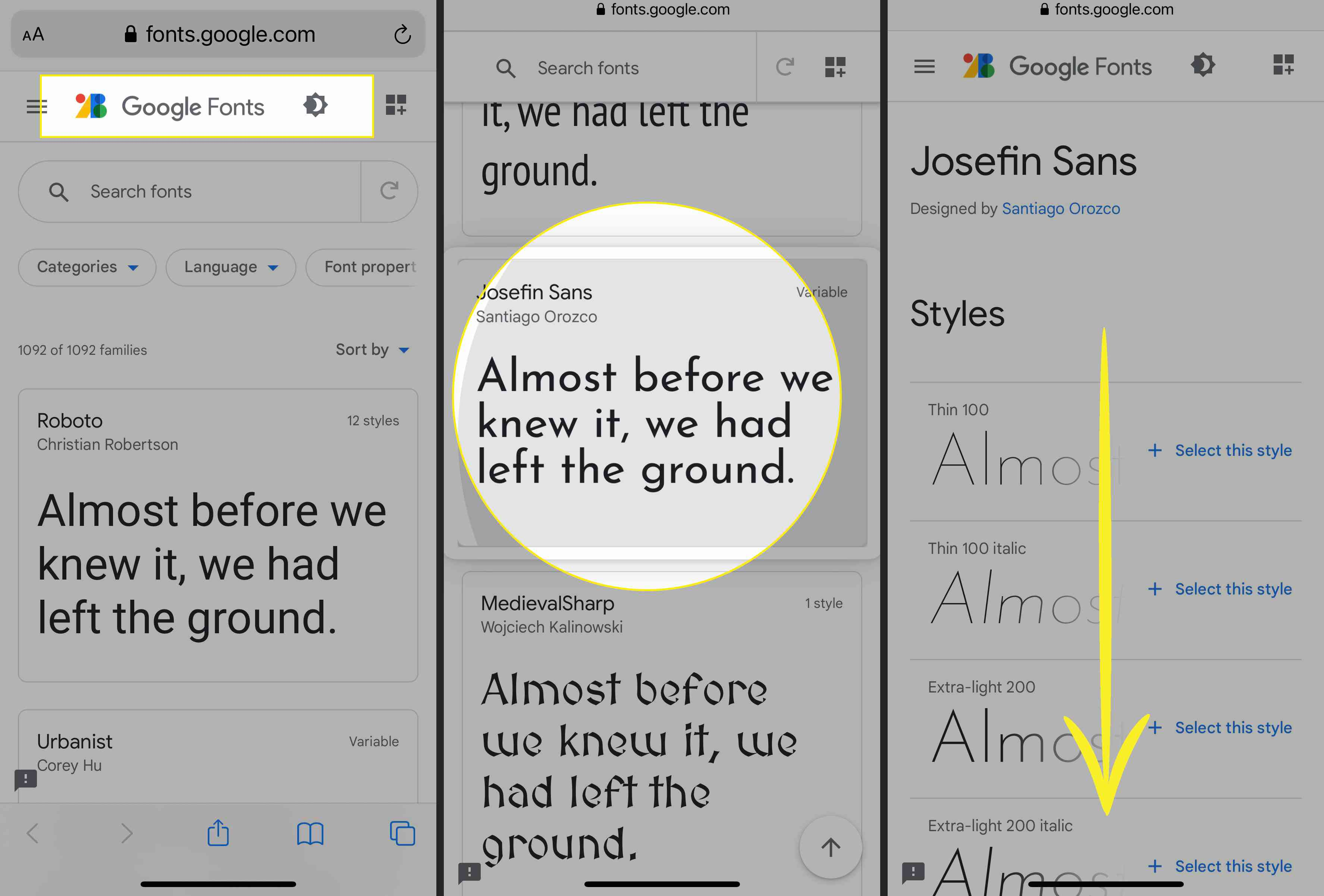Google Fonts in Safari with Josefin Sans highlighted and font styles listed