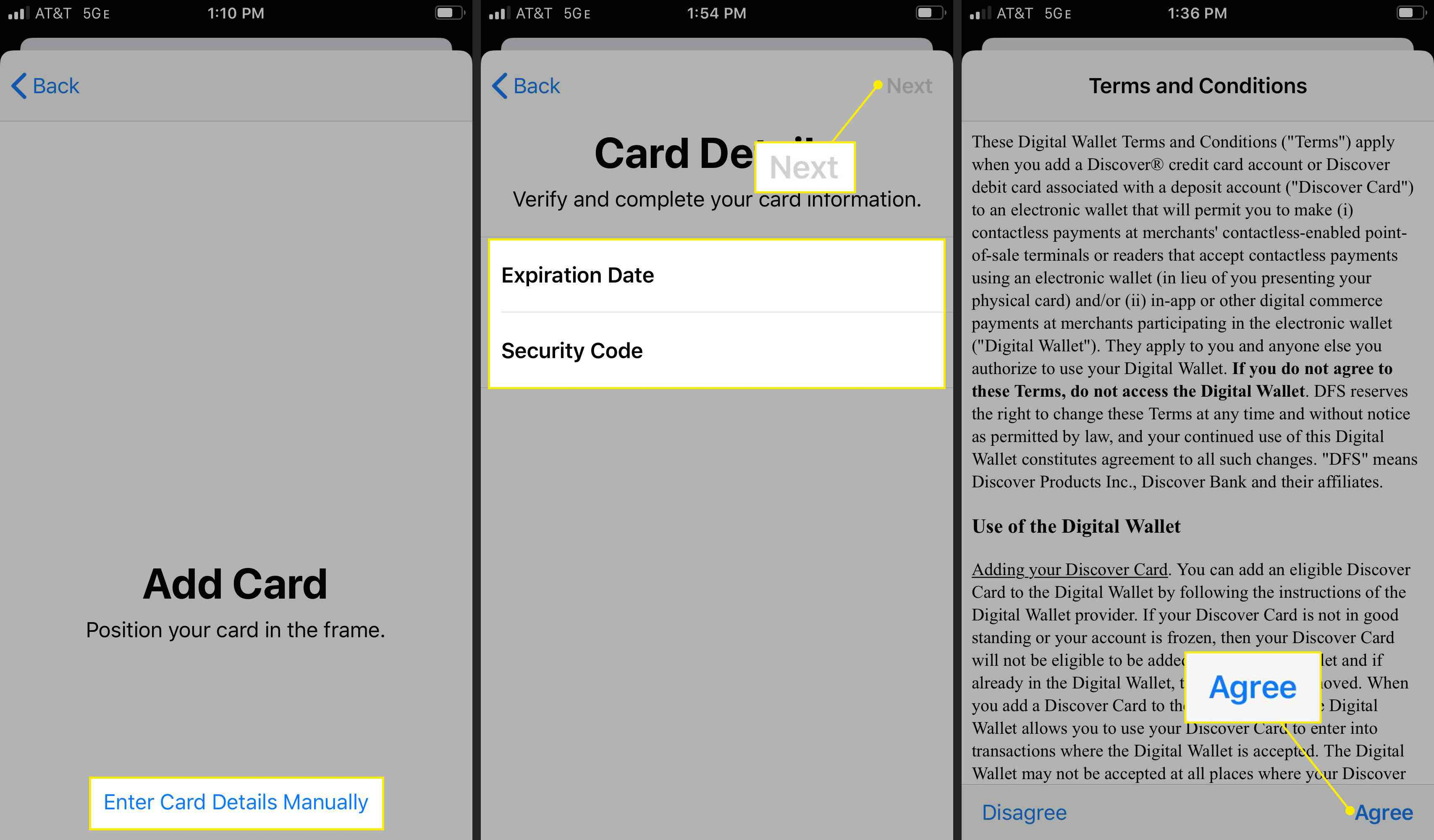 Card details and the Agree button in Apple Wallet