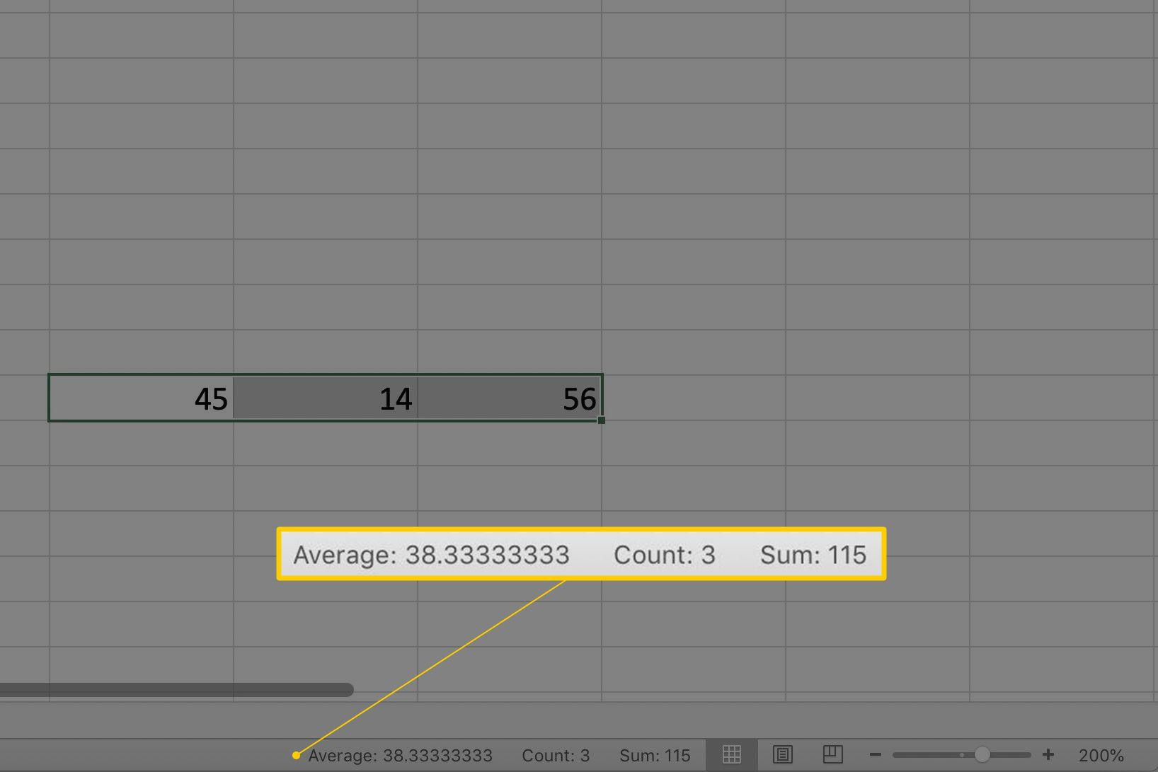 Average function in Excel Status Bar