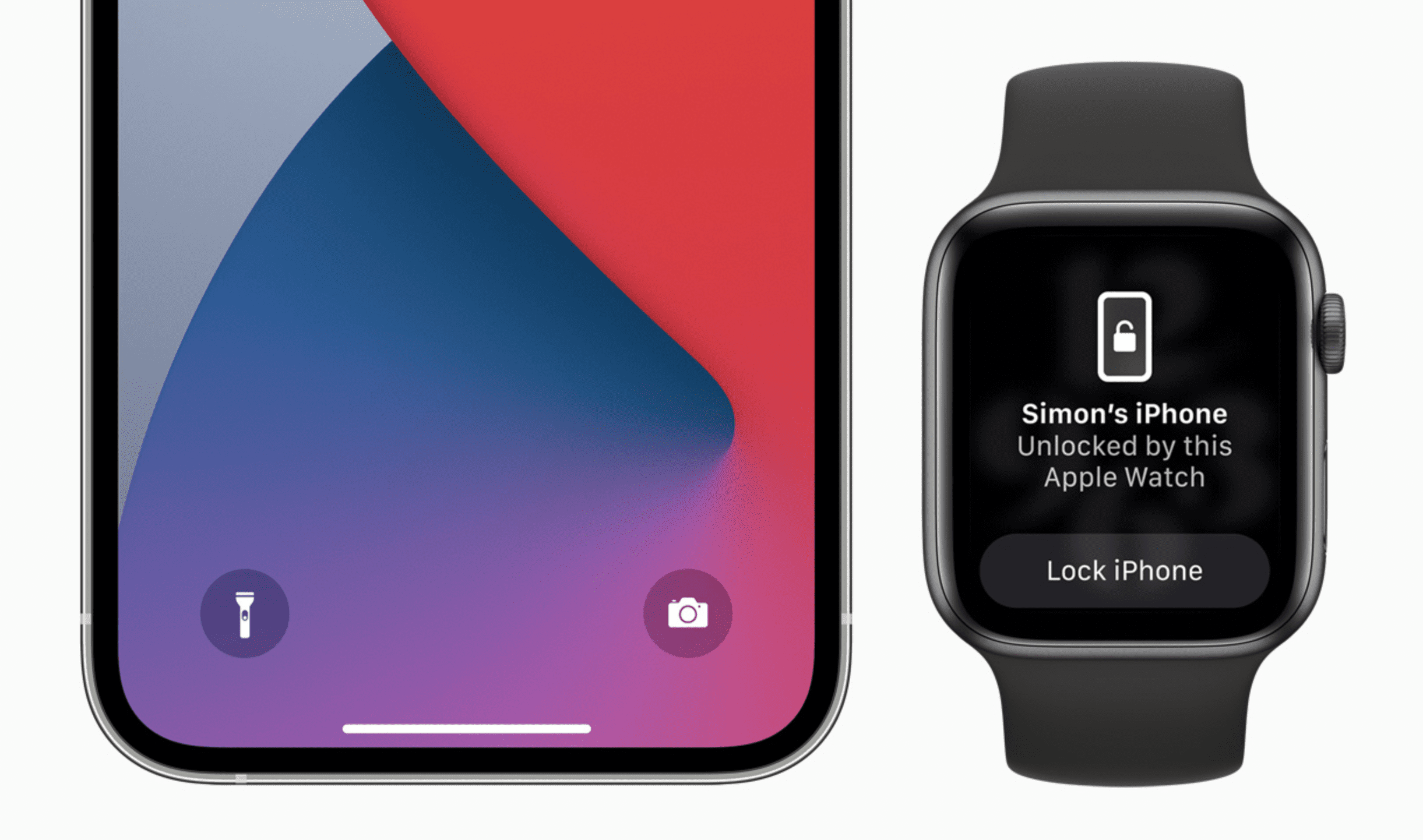 Apple Watch showing prompt to unlock iPhone