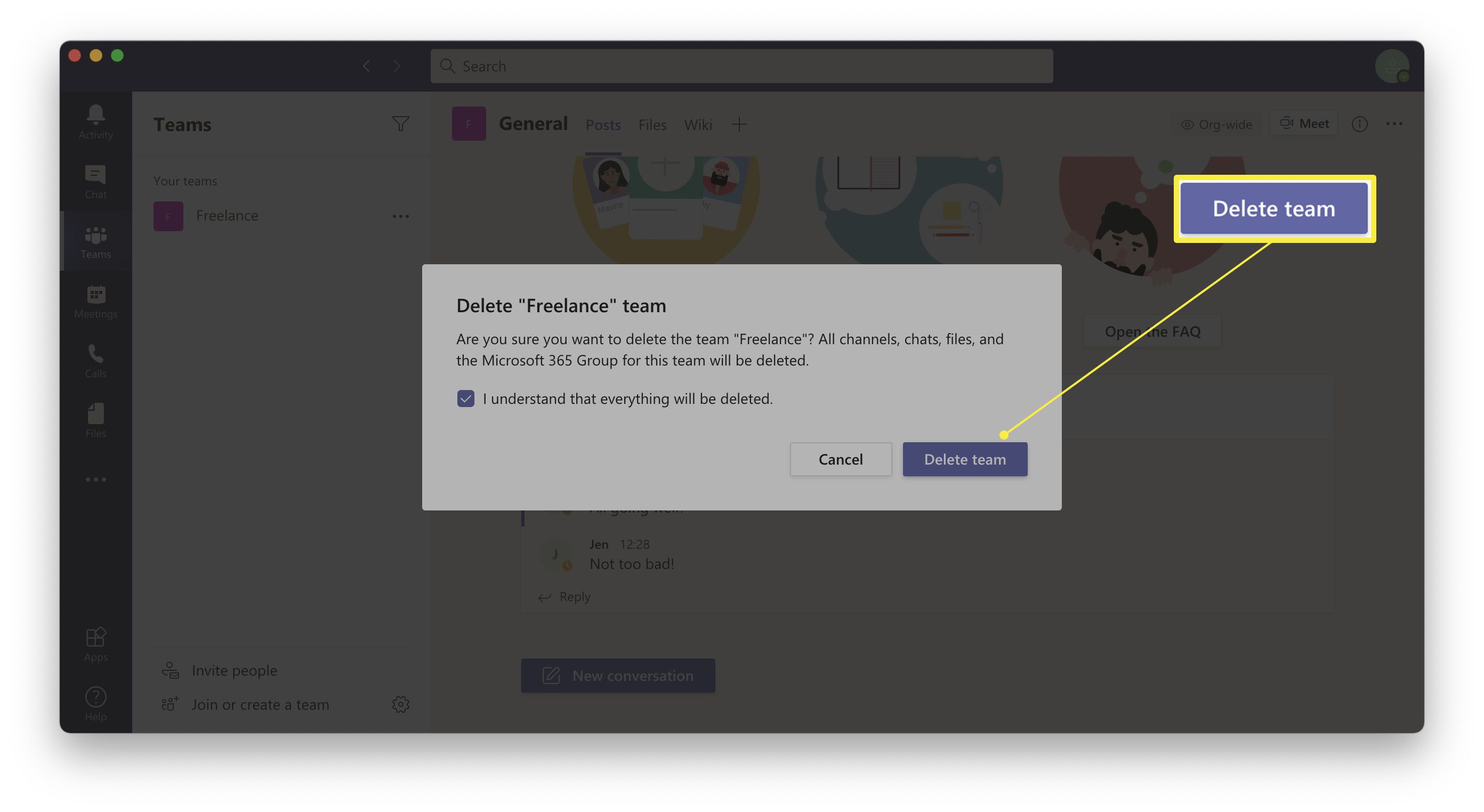 Microsoft Teams with dialog for Delete Team open and highlighted