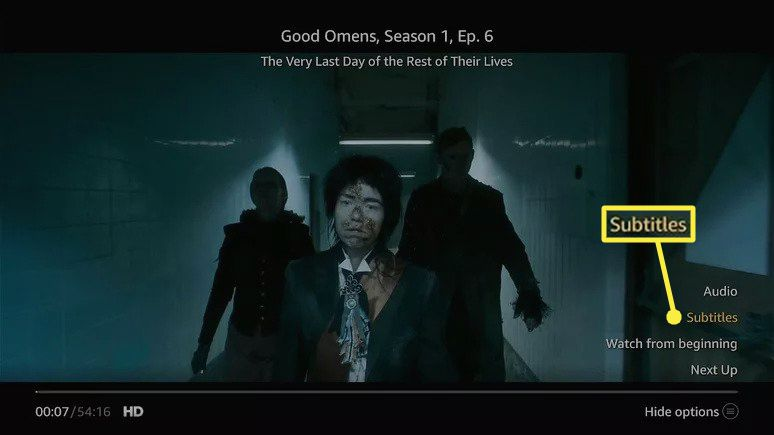 Subtitles highlighted in the Amazon Prime Video app