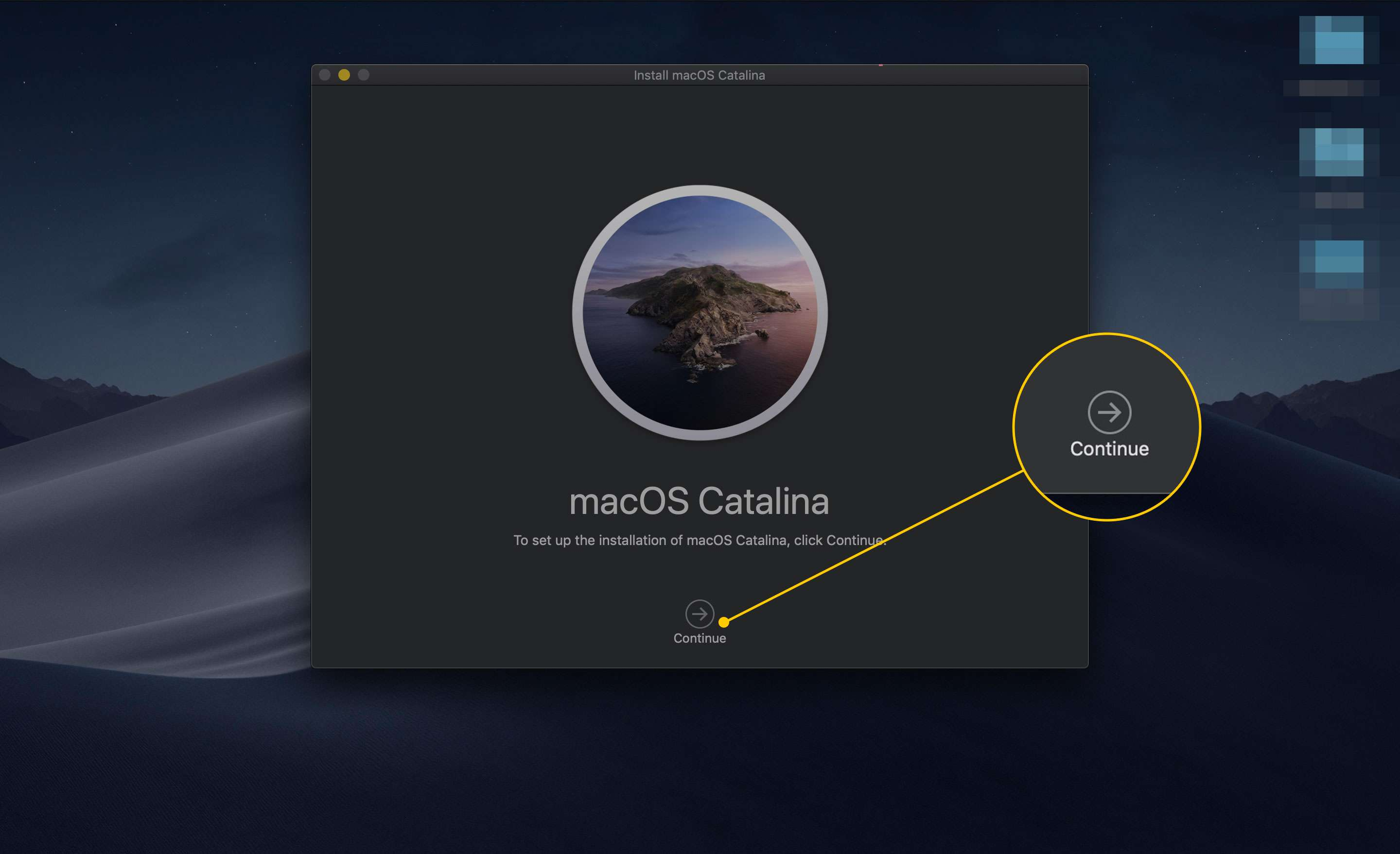 Continue button in Install macOS Catalina