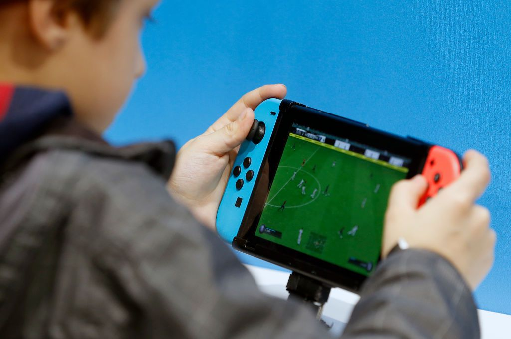 A child playing 'Fifa 19' on a Nintendo Switch.