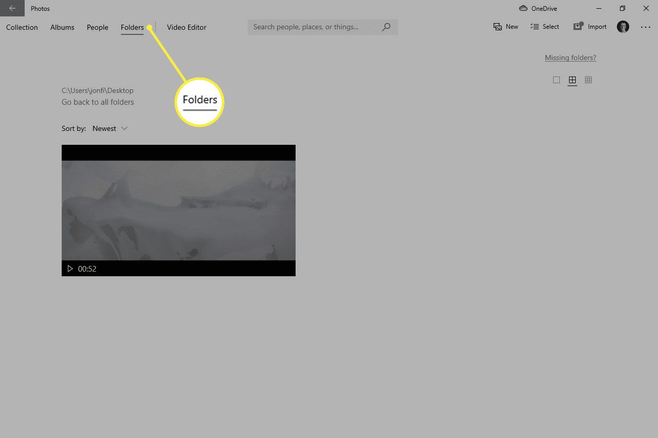 Video listed in the Folders screen of the Windows 10 Photos app
