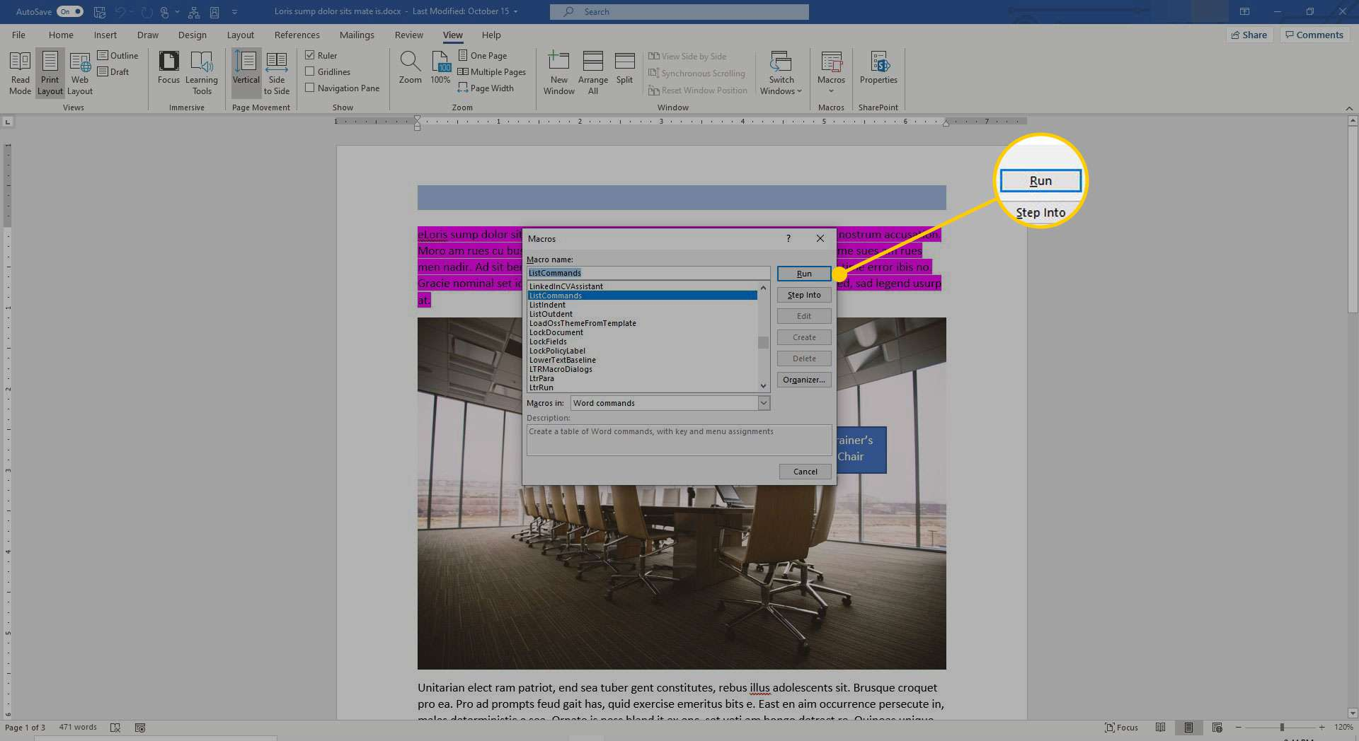 Macros window in Word with the Run button highlighted