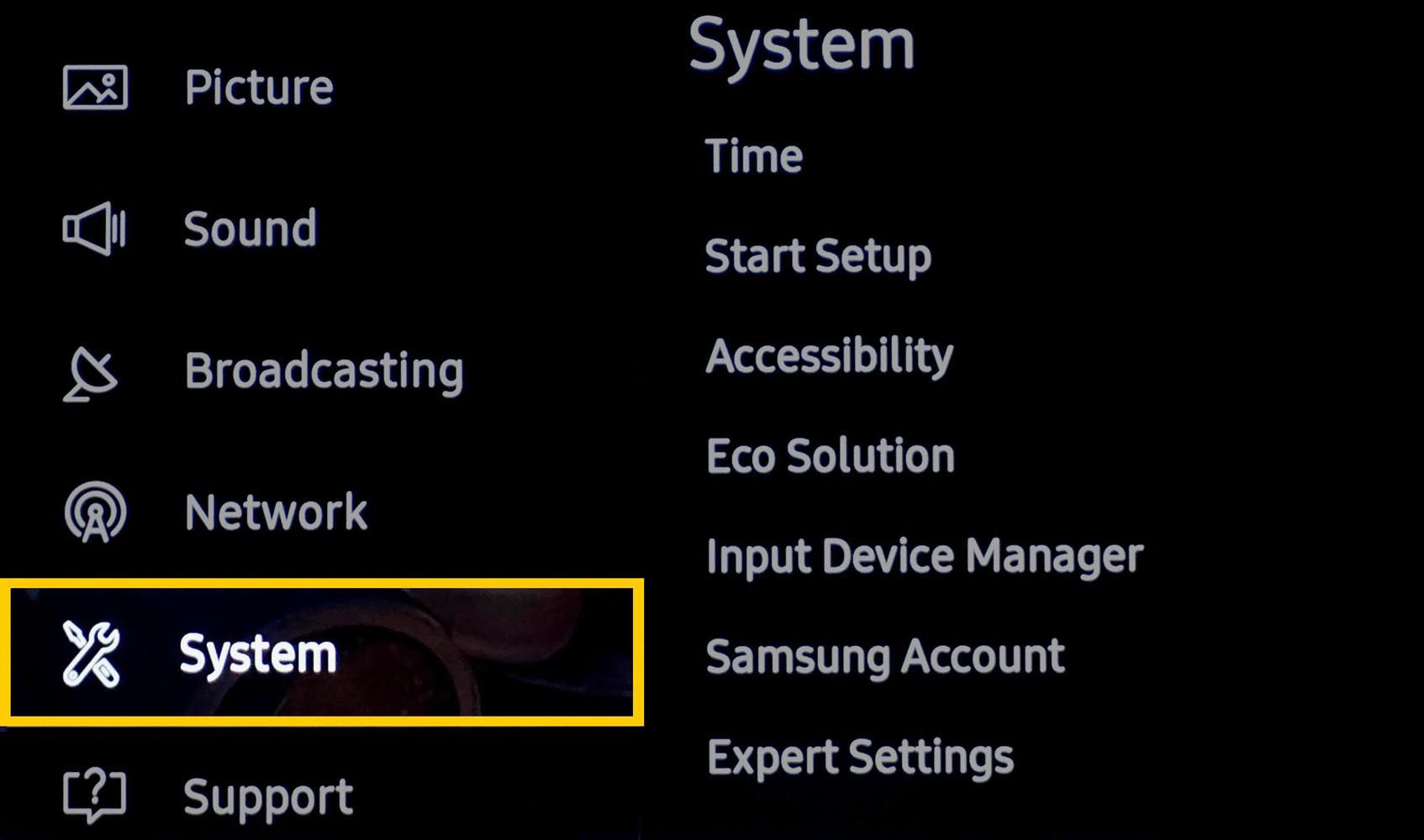 Samsung 4K UHD TV System Settings