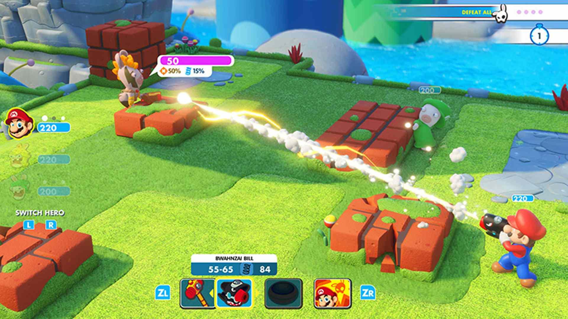 Mario + Rabbids: Kingdom Battle offline strategy video game on Nintendo Switch.
