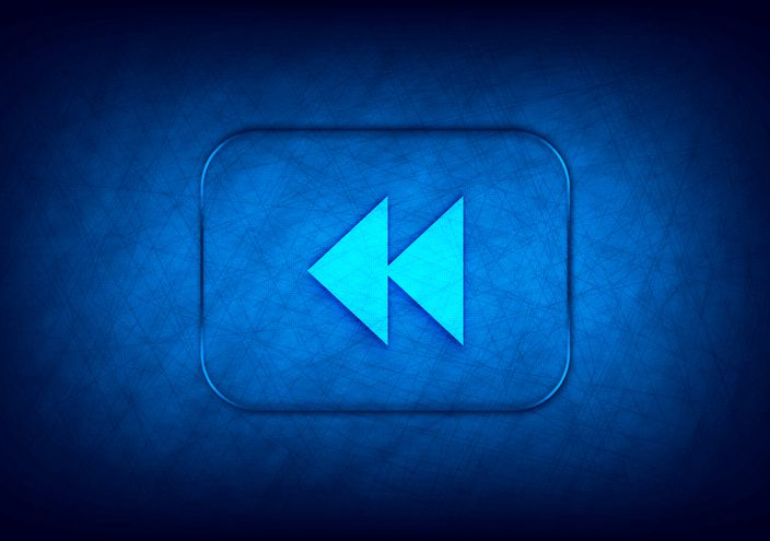 Jump backward icon abstract digital design blue background