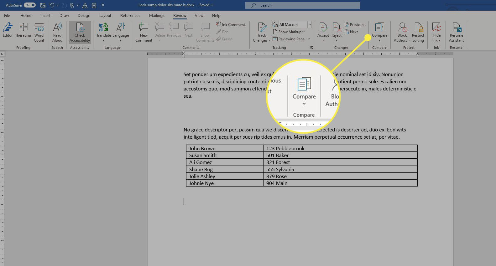 The Compare section in Word