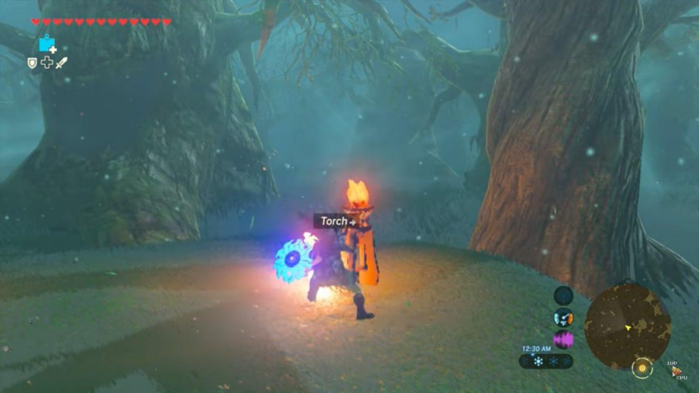 Link lights a torch in Zelda: BOTW