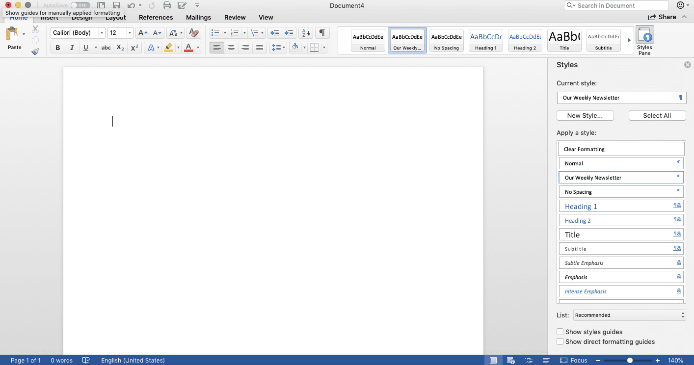Screenshot of open document and Styles pane in Microsoft Word
