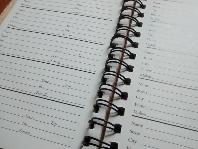 An empty address book