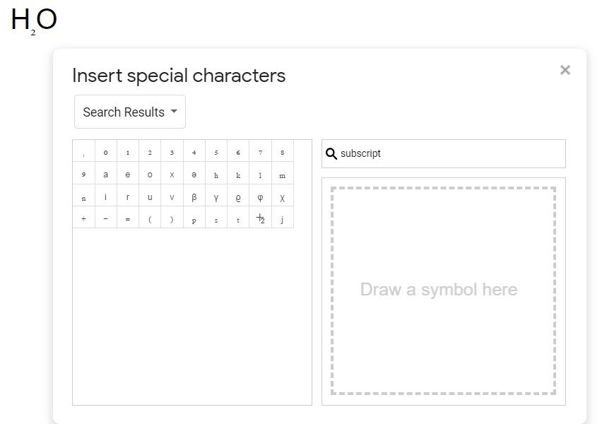 Insert subscript using the Special Characters menu.