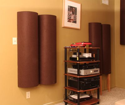 Diffusers mounted on wall; diffusers standing on legs.