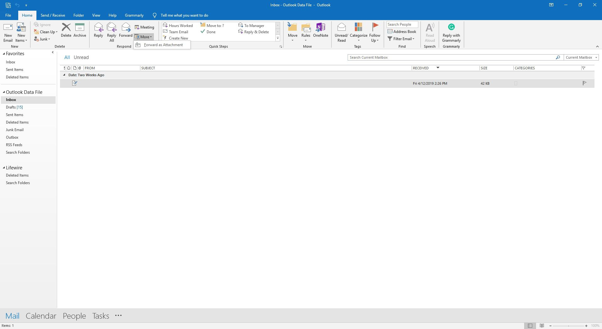 The Respond group in Outlook.