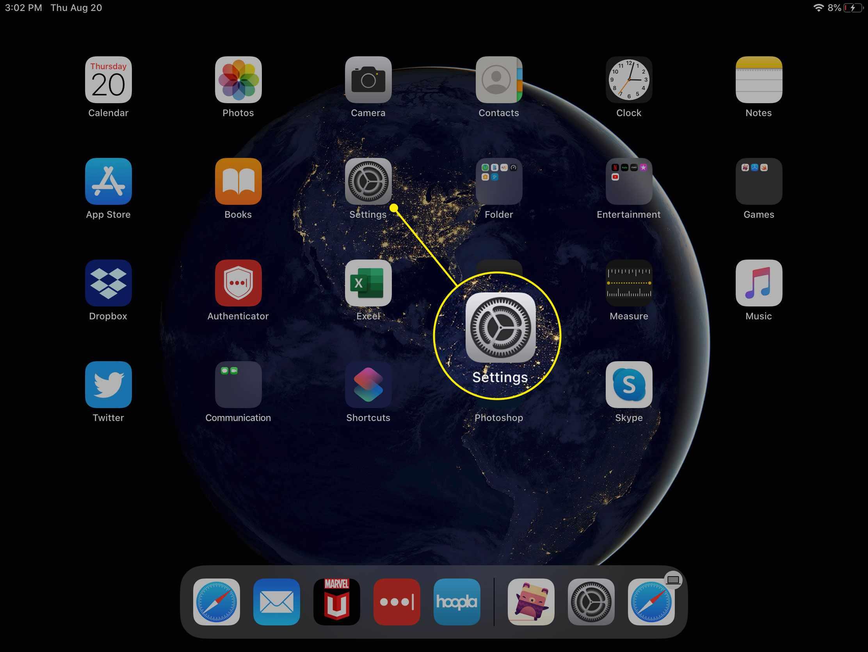 The Settings app on iPad