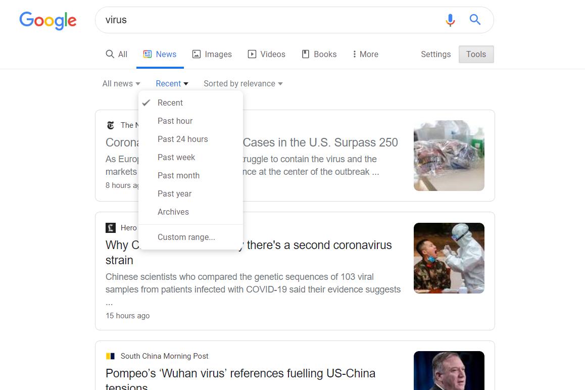 Recent news articles on Google