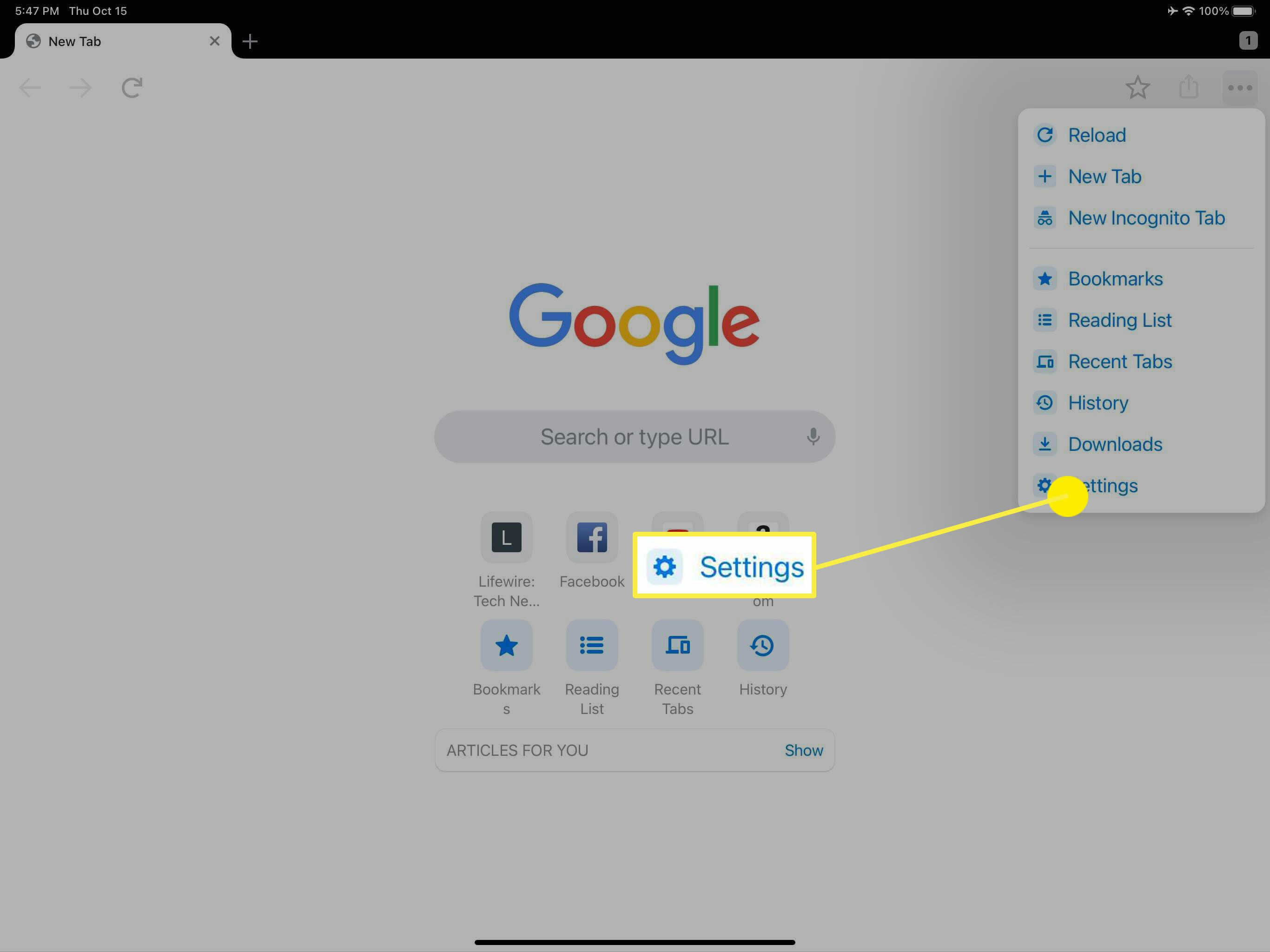 The Settings option in the Chrome browser.