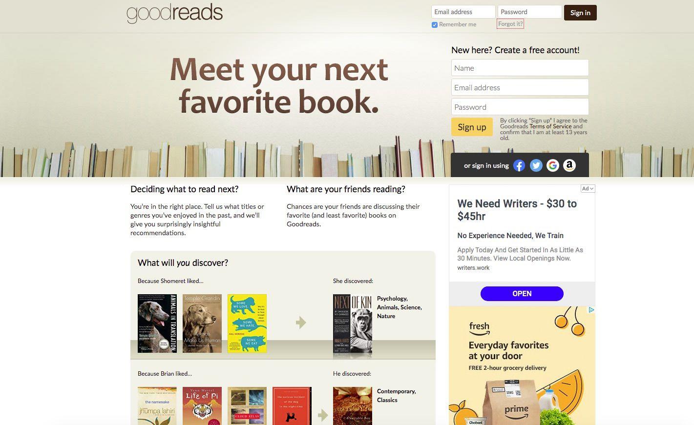 Screenshot of GoodReads book-centered social site