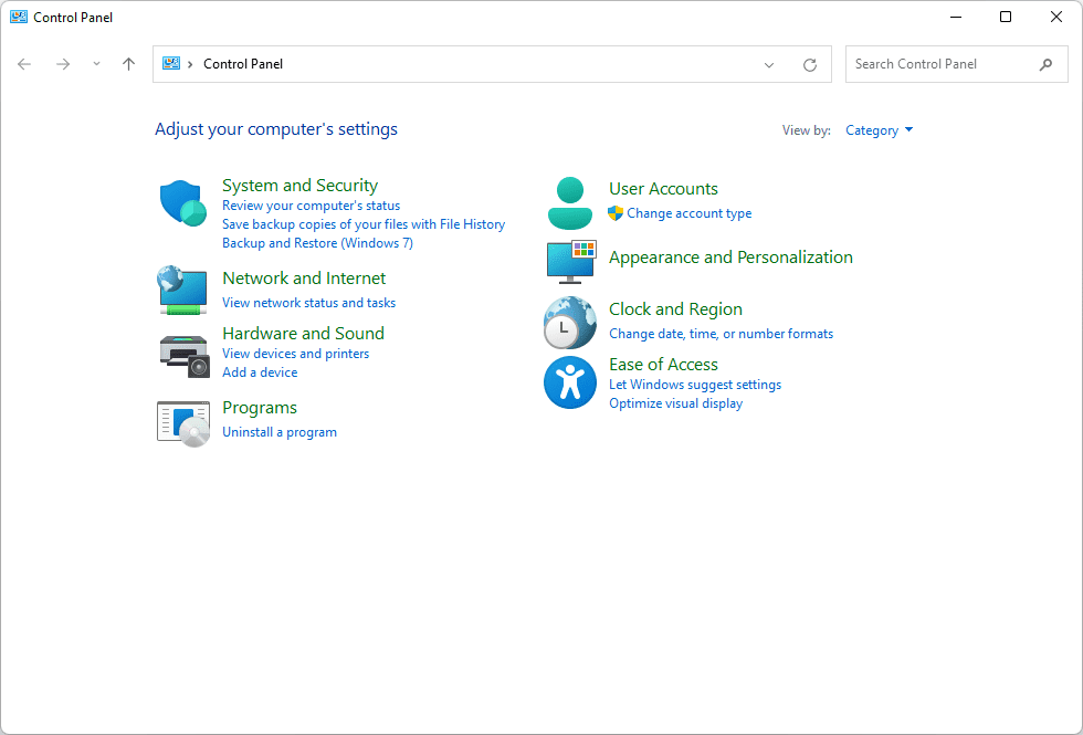 Hardware and Sound icon in Control Panel in Windows 11
