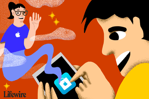 Illustration of a person tapping the Apple Store logo and a genie-like Apple Store Genius appearing