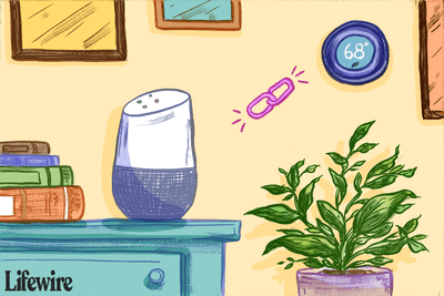 A Google Home connecting to a Nest thermostat