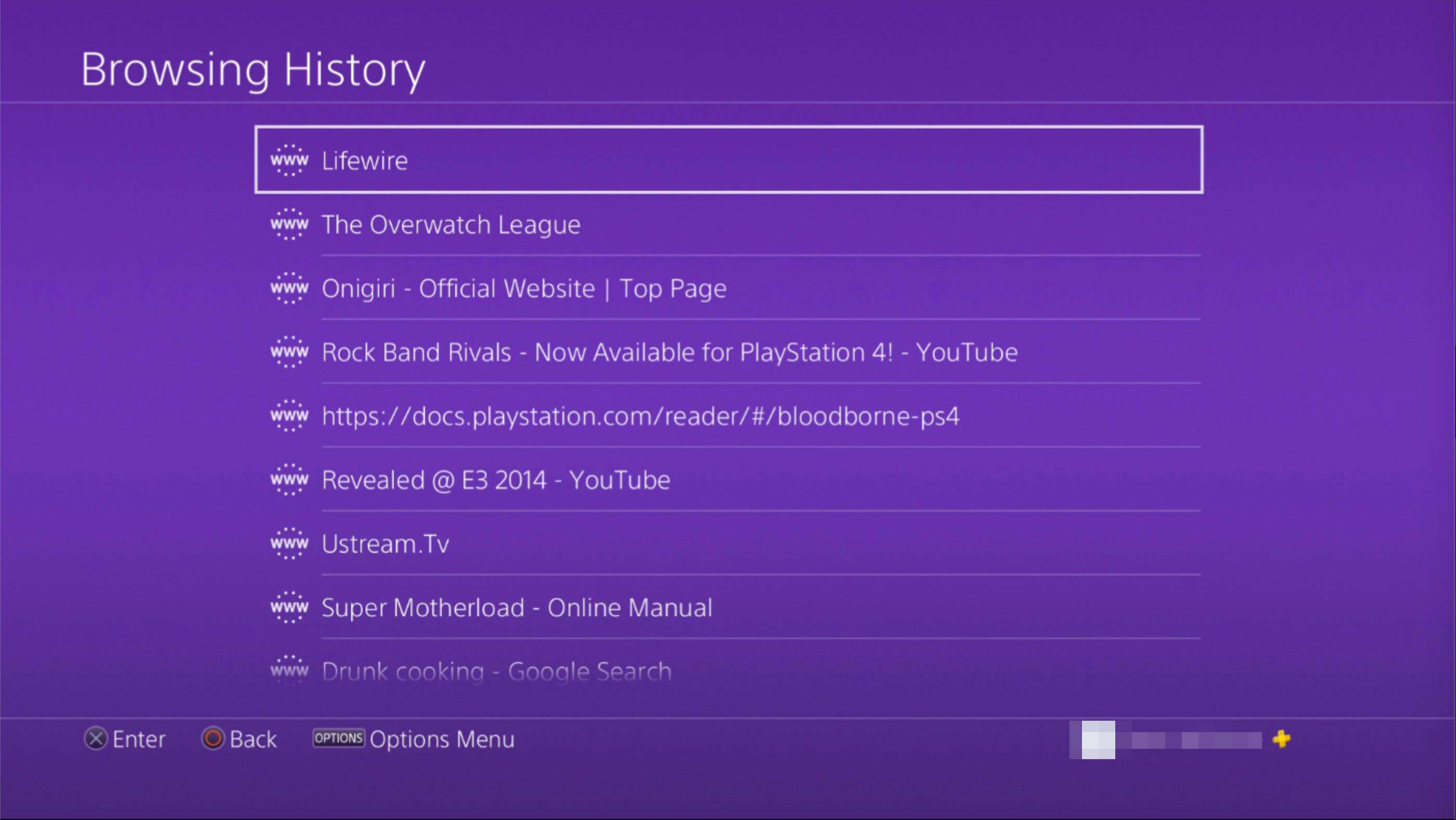 Browsing History on PS4