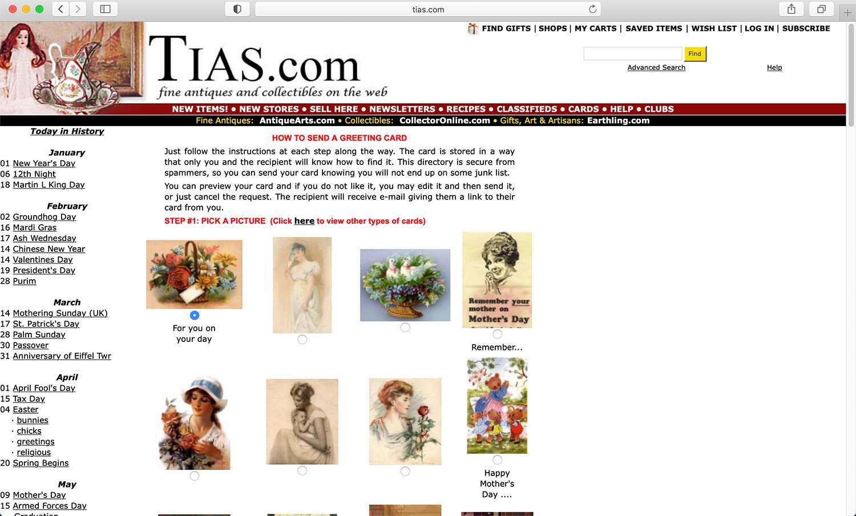 TIAS free, customizable vintage e-card website