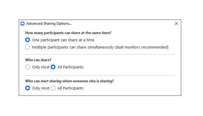 Zoom Advanced Sharing Options menu