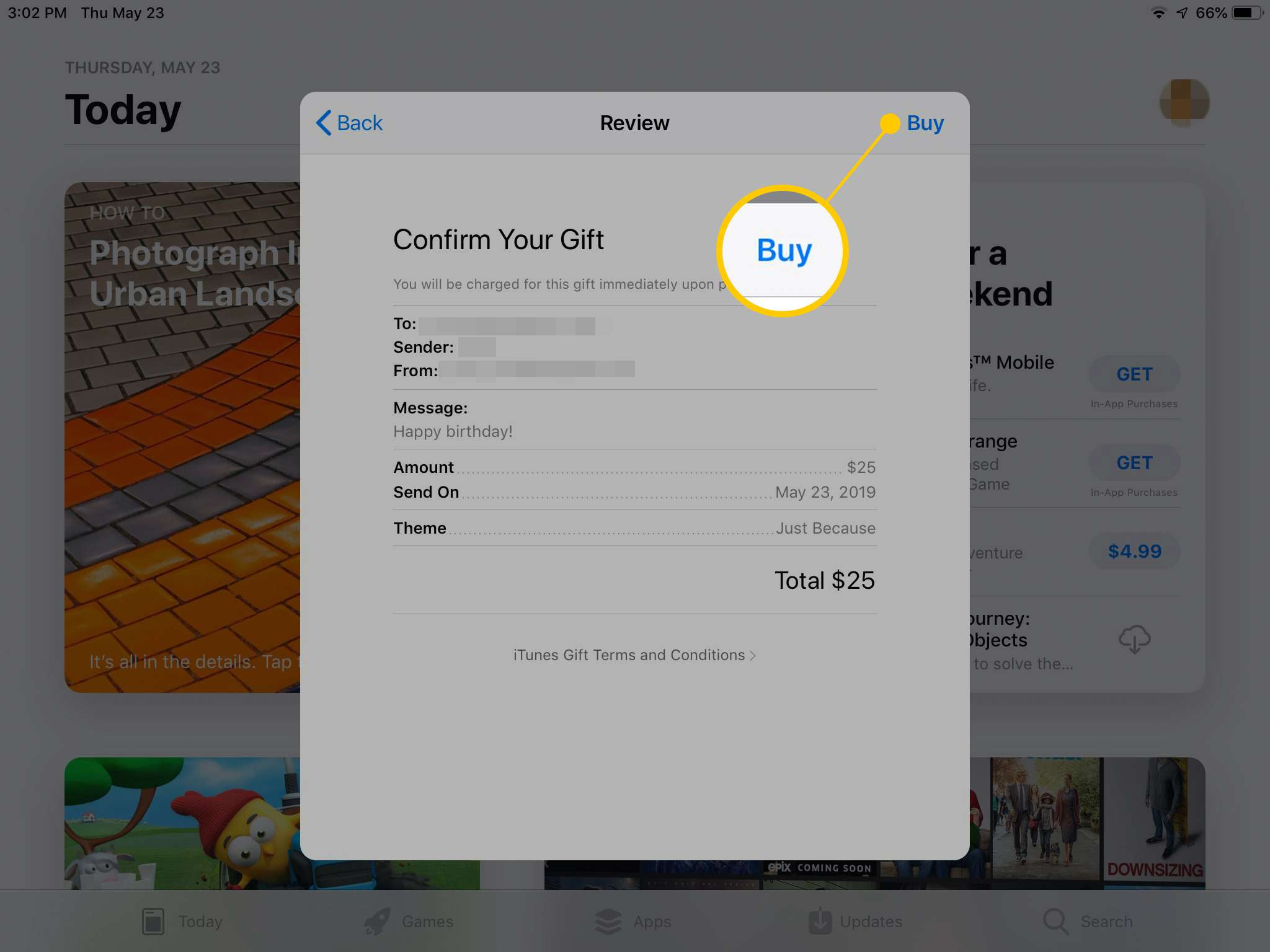Buy button in Gift Card dialog on App Store