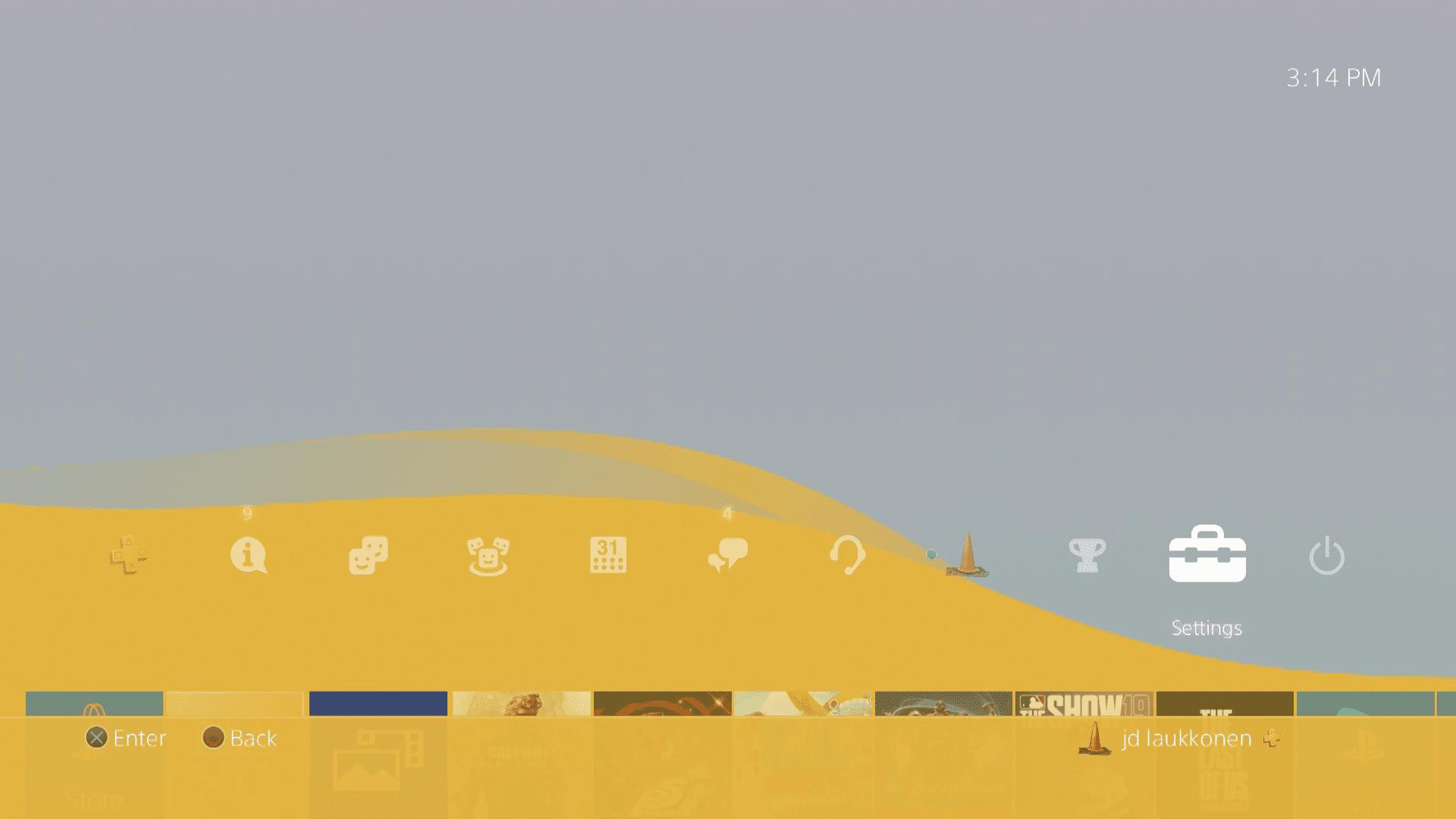 A screenshot of the main PS4 menu.