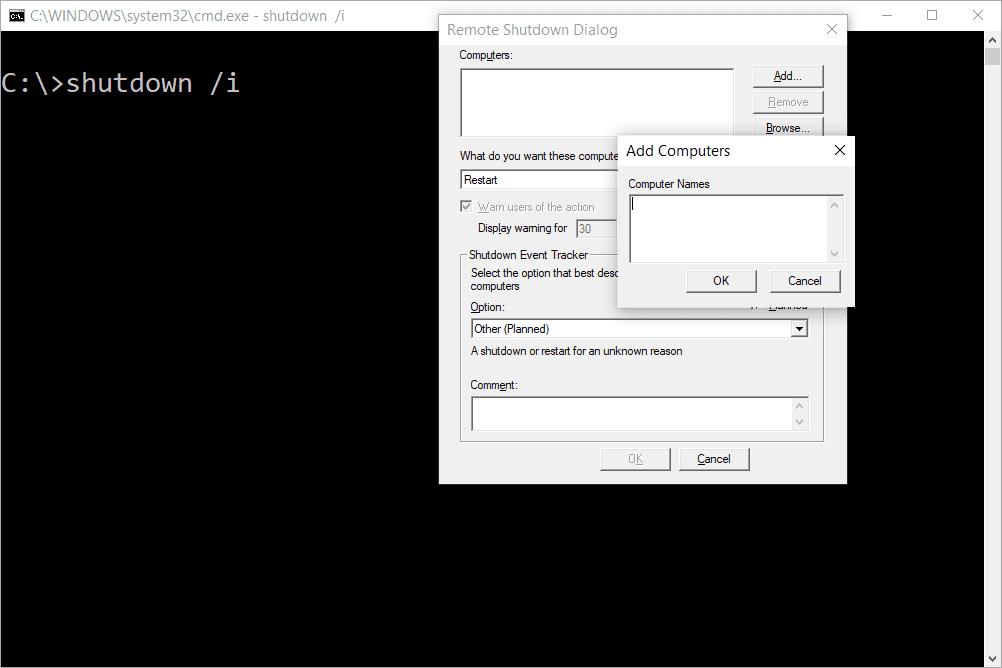 Remote shutdown command and dialog window