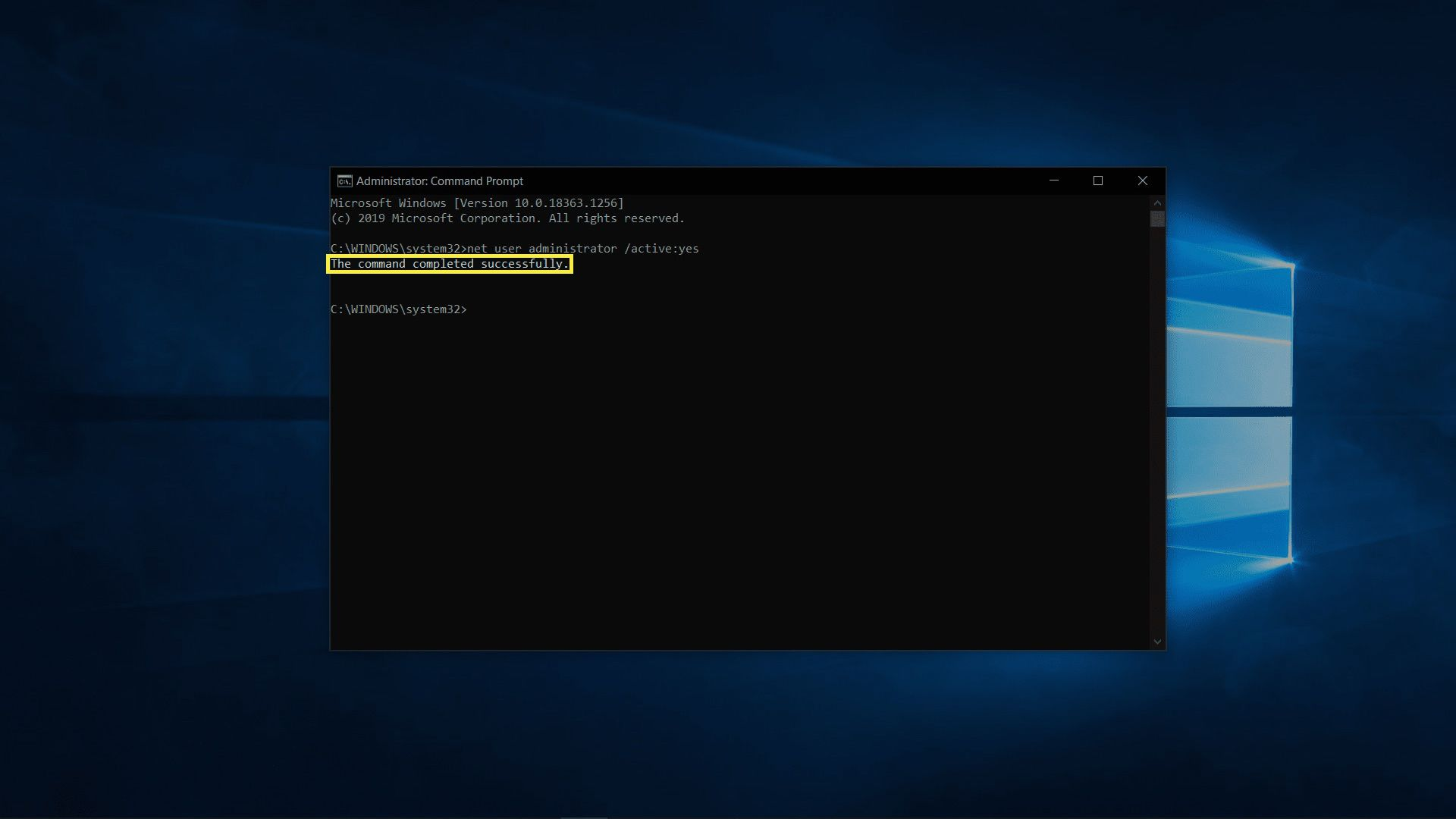Enabling the admin account on Windows 10.