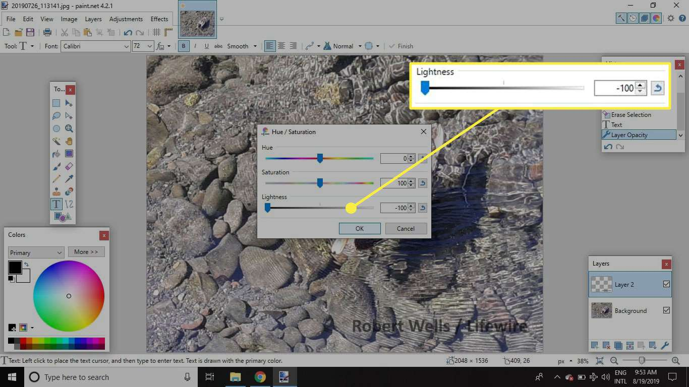 A screenshot of Paint.NET with the Lightness slider in the Hue/Saturation window highlighted