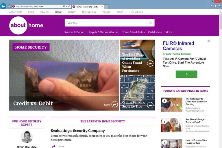 About.com on Internet Explorer browser