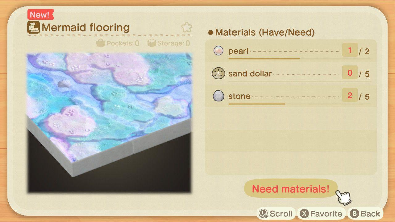 Mermaid Flooring recipe in Animal Crossing.
