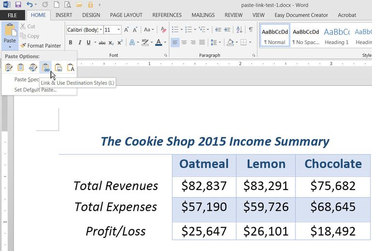 Link Files in MS Excel and Word with Past Link