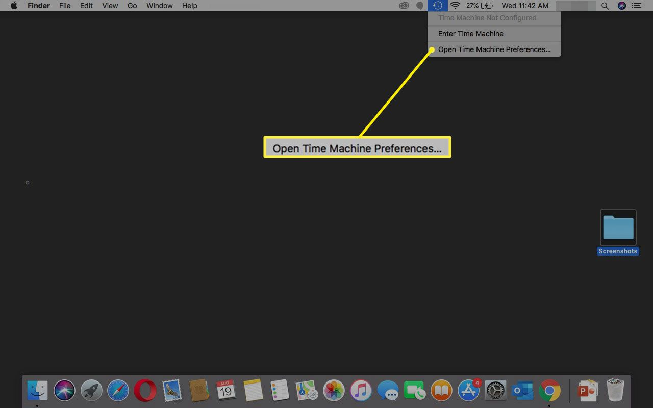 Selecting Open Time Machine Preferences menu option.